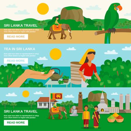 tea plantation: Color horizontal banner depicting Sri Lanka travel and culture of the island vector illustration