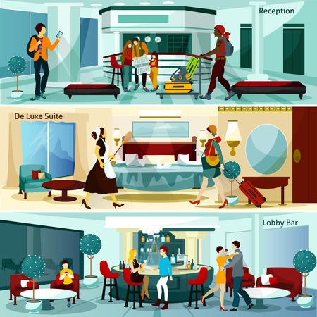 hotel suite: Hotel Interior And People Flat Concept. Hotel Interior Horizontal Banners. Hotel Interior Vector Illustration.Hotel Interior Compositions Isolated Set. Hotel Interior Design Symbols. Illustration