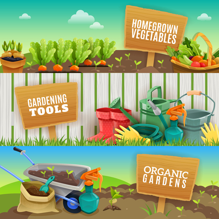 seedlings: Three colorful gardening horizontal banners with farming tools homegrown vegetables in garden beds and organic fertilizer in handcart flat vector illustration