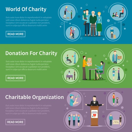 needy: Charity donation flat banners with charitable organizations and volunteers helping needy people vector illustration