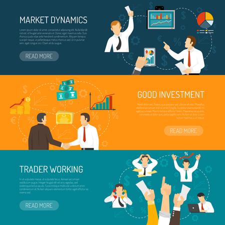 trader: Trader work horizontal banners set with profitable financial solutions analysis of market stressful profession isolated vector illustration