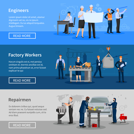 Engineers at work factory workers in workshop and repairmen in car service flat horizontal banners vector illustration