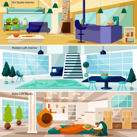 interiors: Loft Stidio Interiors Flat Concept. Loft Stidio Interiors Horizontal Banners. Loft Stidio Interiors Vector Illustration. Loft Stidio Interiors Isolated Set. Loft Room Interiors Design Symbols. Illustration