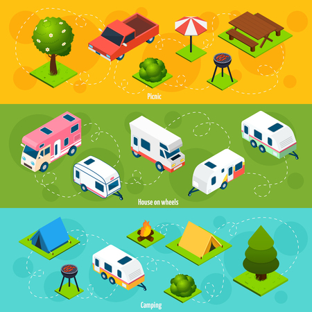 campsite: Camping and travel isometric horizontal banners with house on wheels and elements for picnic and campsite on colorful backgrounds vector illustration