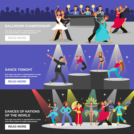 bannières plates de couleur représentant le type de danse danse de salon de championnat ce soir danse nationale illustration vectorielle différente