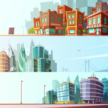 área de la bahía vista de la calle día horizonte de 3 banners horizontales modernas e históricas conjunto ilustración vectorial aislados de dibujos animados