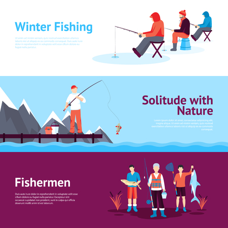 ice fishing: Solitude and nature outdoor activities 3 flat horizontal banners set with ice fishing abstract isolated vector illustration