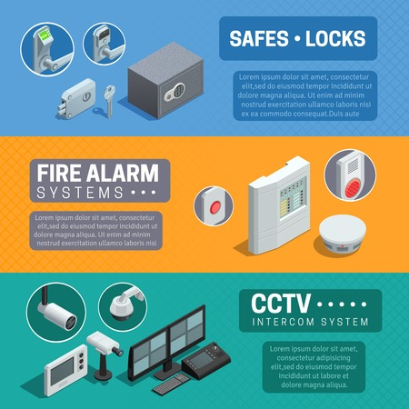 security monitor: Home security system description 3 horizontal isometric banners set with cctv and fire alarm abstract isolated vector illustration Illustration