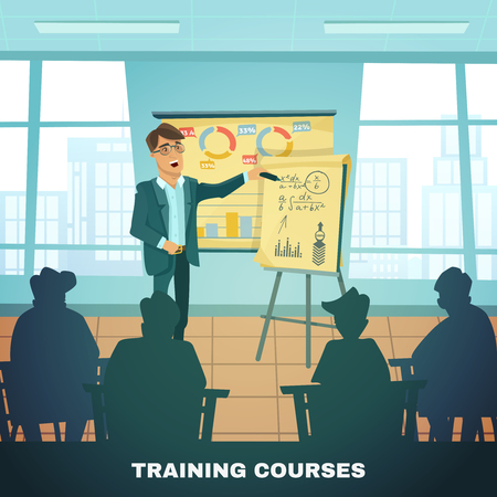 training courses: Classic education and training courses for advanced students and scholars  with teacher in classroom  abstract vector illustration