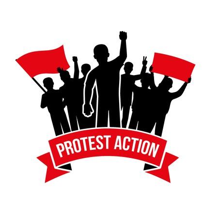 emblème de l'action de protestation avec la foule des hommes exigeants et drapeau placard inscription sur fond blanc isolé illustration vectorielle Vecteurs