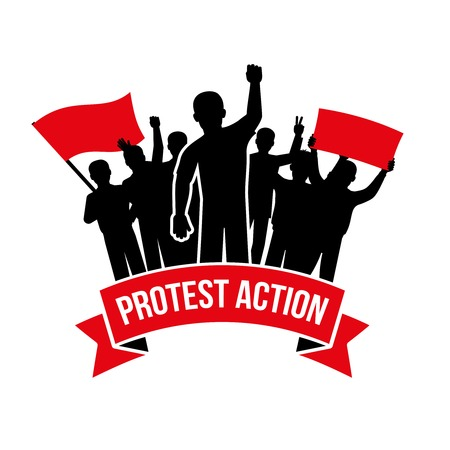 demanding: Protest action emblem with crowd demanding men and flag placard inscription on white background isolated vector illustration Illustration
