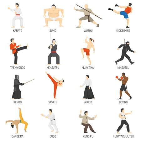 Martial arts decorative flat icons set with sumo karate judo ninja taekwondo kung fu isolated vector illustration