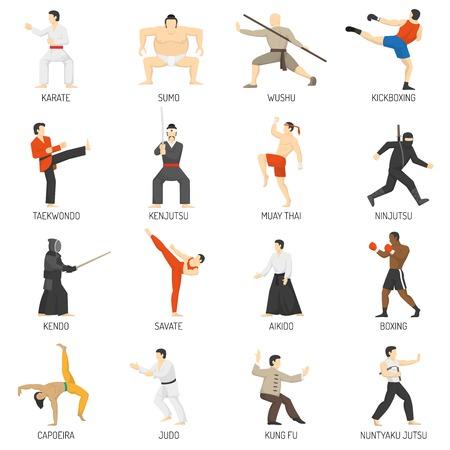 Sztuki walki dekoracyjne płaskie ikony ustaw z sumo karate judo ninja taekwondo kung fu Izolowane ilustracji wektorowych