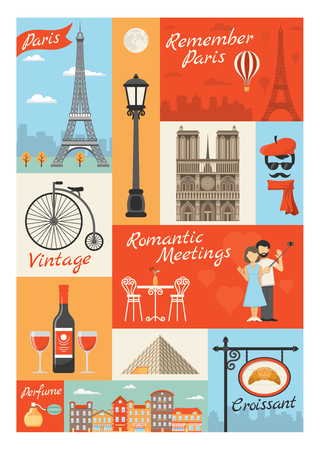 france perfume: France paris vintage style icons set with louvre streetlight perfume croissant actor eiffel tower isolated vector illustration Illustration
