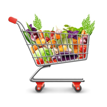Realistic shopping basket full of organic products with fresh fruits vegetables and greens for healthy nutrition vector illustration