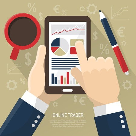 stock trader: Stock market on smartphone with hands of trader cup of coffee stylus on beige background vector illustration