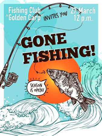 Gone visserij reclameposter van de karper hengel op de achtergrond met hemel zee en zon schets vector illustratie