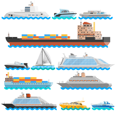 yachts: Water transport flat decorative icons set of dry cargo ships cruise liners yachts sailboats isolated vector illustration