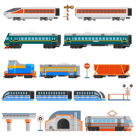 wagons: Rail transport flat colorful icons set of passenger and cargo wagons locomotives tram tunnel monorail isolated vector illustration