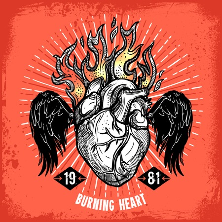 flaming: Poster of hand drawn burning heart with wings tattoo on red background vector illustration Illustration