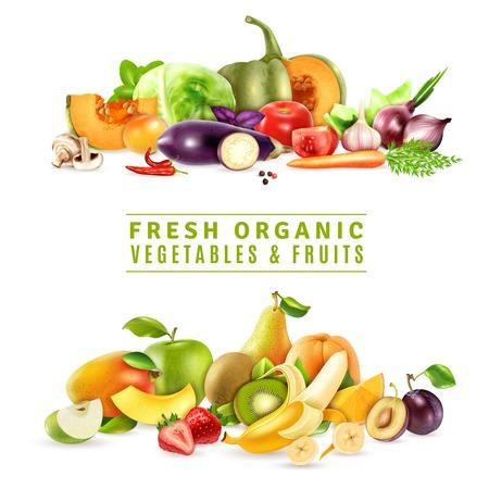 Conceito de design orgânico colorido com duas coleções de legumes frescos e frutas em ilustração vetorial de estilo realista Ilustración de vector
