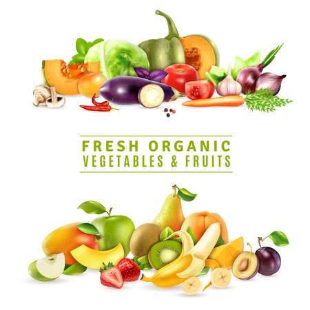 Colorful organic design concept with two collections of fresh vegetables and fruits in realistic style vector illustration