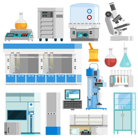 Wissenschaft flache Farbe isoliert Icons Set von Werkzeugen für die Naturwissenschaften Forschung und hochtechnologische Laborgeräte flach Vektor-Illustration