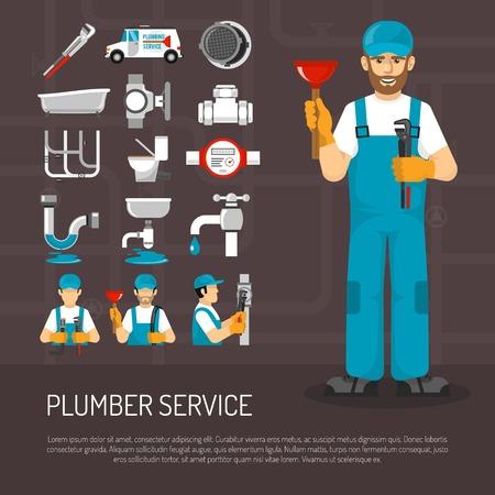 repairmen: Plumbing service decorative icons set with repairmen pipeline faucet  meter sanitary ware on black background vector illustration Illustration