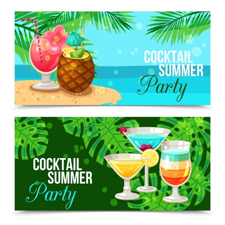 Horizontal banners presenting cocktail summer party different cocktails on green and blue backgrounds with palm branches vector illustration