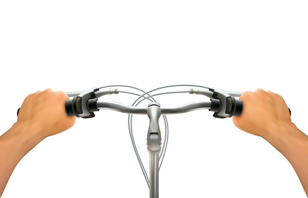 handlebar: Handlebar hand composition realistic hands on bicycle steering wheel on white background isolated colored vector illustration