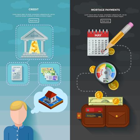 Zwei vertikale Bonität Banner mit Hypothekenzahlung Datum im Kalender Brieftasche mit Geld und Kredit-Score Messer