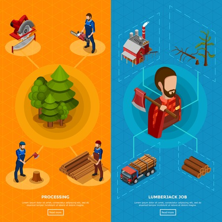 felling: Lumberjack job isometric vertical banners with set of icons showing woodworking process and equipment for felling flat vector illustration