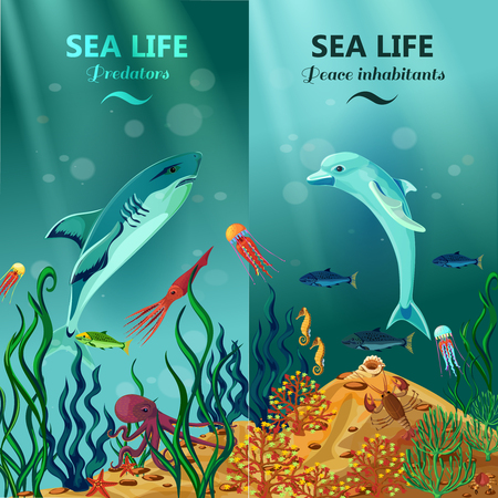 Colorful vertical sea life banners with peace and predator inhabitants of underwater coral reefs flat vector illustration