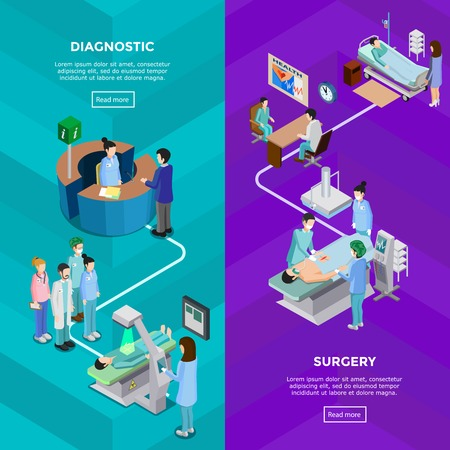tomography: Two hospital vertical banners with functional tomography equipment and surgery operation with patient surgeons and assistants flat vector illustration