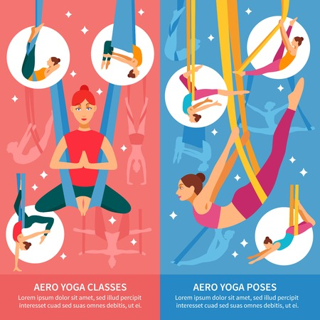 aero: Two vertical aero yoga banner or bookmark set with women in training and titles aero yoga classes and aero yoga poses vector illustration