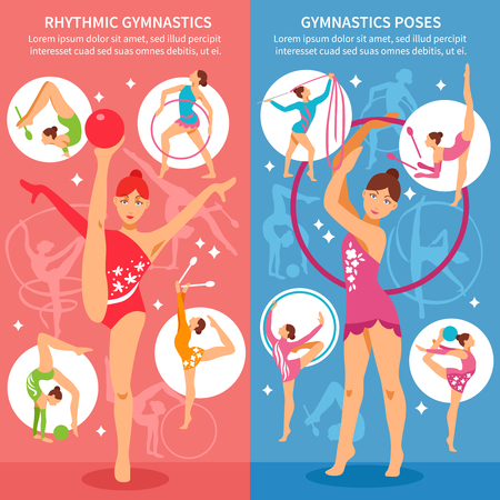 rhythmic gymnastic: Two rhythmic gymnastics vertical banners with young beauty girls in different sports poses with gymnastics equipment flat vector illustration