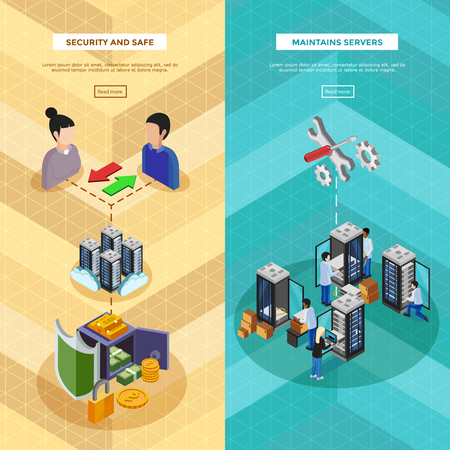 server hardware: Two datacenter isometric vertical banners with server hardware and technical staff supporting safety of software and data transfer flat vector illustration