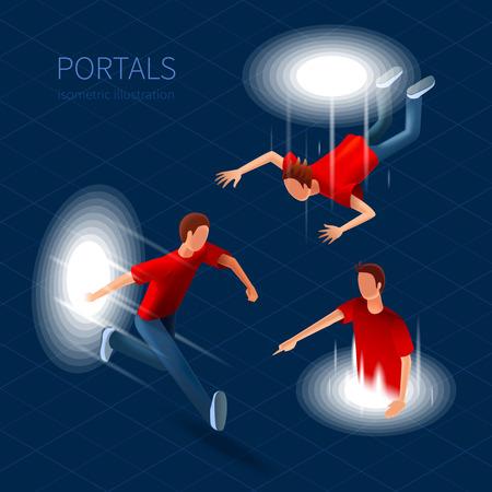 portals: Way Out Portals Icons Set. Way Out Portals Vector Illustration.Portals Decorative Set. Portals  Design Set. Portals Isometric Isolated Set.