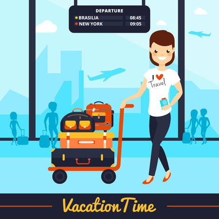 vacation time: Travel luggage illustration with smiling woman and bags in vacation time vector illustration
