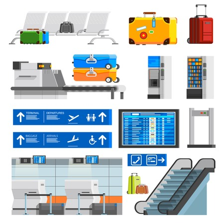 portmanteau: Airport interior flat color decorative icons set with portmanteaus suitcases checkpoint schedule scoreboard escalator isolated vector illustration Illustration