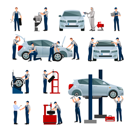 icônes plats ensemble de différents travailleurs dans la voiture et un service de pneus qui font leur travail isolé illustration vectorielle