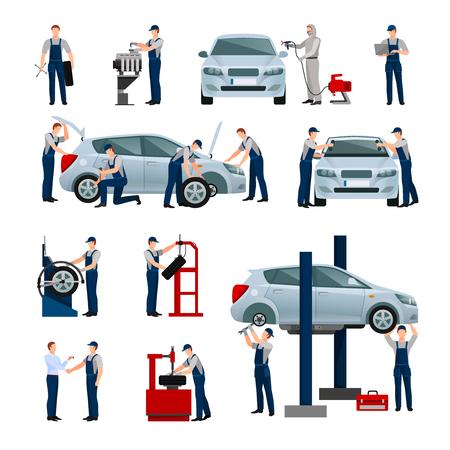 garage automobile: icônes plats ensemble de différents travailleurs dans la voiture et un service de pneus qui font leur travail isolé illustration vectorielle
