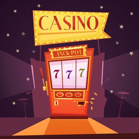 Sparkling casino with jackpot slot machine flat retro cartoon vector illustration