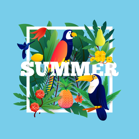 exotic fruit: Summer tropical frame with plants fruits and birds vector illustration