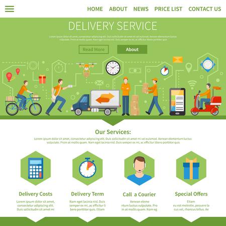Bezorgservice en koeriersdiensten pagina met beschrijving van de diensten, waaronder de kosten term speciale aanbiedingen en bel een koerier flat vector illustratie Vector Illustratie