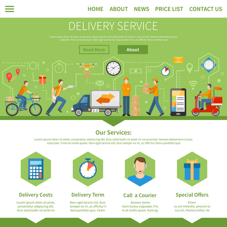 good service: Delivery service and courier page with description of services including costs term special offers and call a courier flat vector illustration