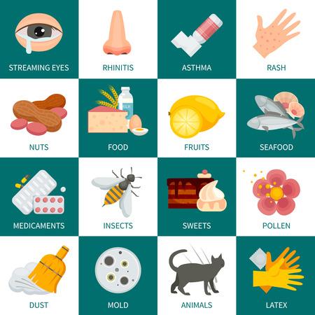 Allergy Icone del quadrato del set. Illustrazione Allergy vettoriale. Allergia piatte Simboli. Allergy Scenografia. Allergy set isolato.