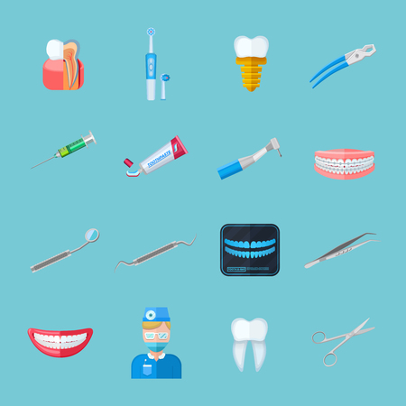 dentures: Dentist isolated flat icons set of dental tweezers syringe forceps dentures toothbrush tube of toothpaste vector illustration
