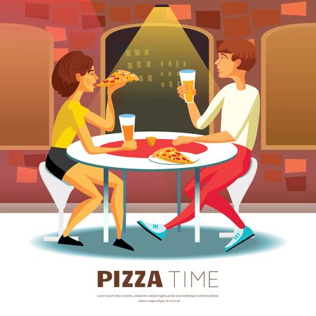 Antecedentes Pizza Time. Comer fuera Ilustración del vector. Diseño de la pizza tiempo. Símbolos Pizzeria decorativos de dibujos animados. Foto de archivo - 57720573