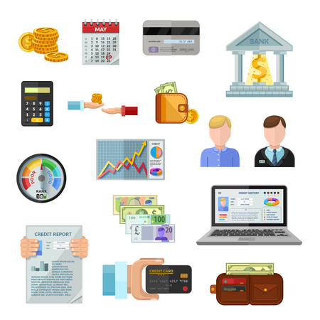 borrower: Credit rating flat color icons on white background with payment terminal credit history of borrower cash credit score gauge  isolated vector illustration